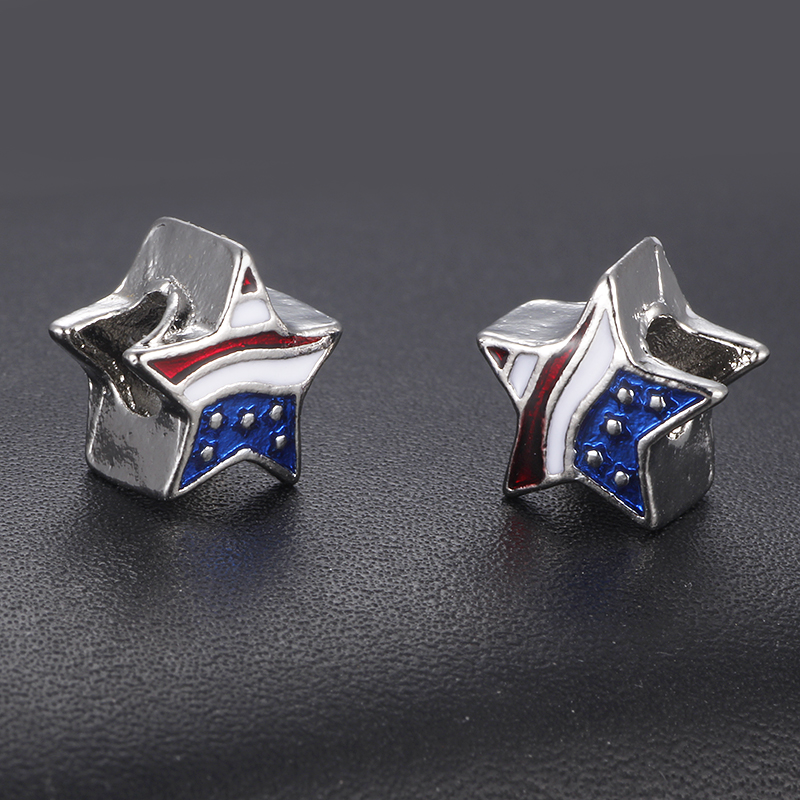 HOMOD Big Hole Besds USA Flag Star Pendant Charms Fit Pandora Bracelet Patriotic 4th of July Independence Day Jewelry