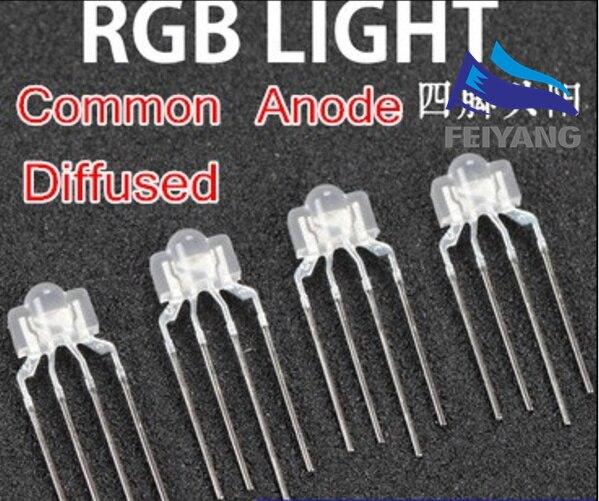250PCS 3mm RGB led diffused 4 PIN multicolor dip led 2 6 3 5 6 5mm