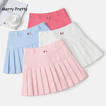 ФОТО merry pretty new japanese preppy pleated skirt womens high waist short mini skirts candy color a-line skater skirt female saia