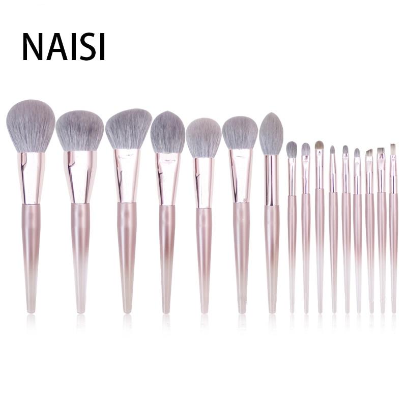 Ensemble de pinceaux de maquillage en or Rose acrylique Transparent NAISI ensemble de pinceaux de maquillage de beauté professionnelle