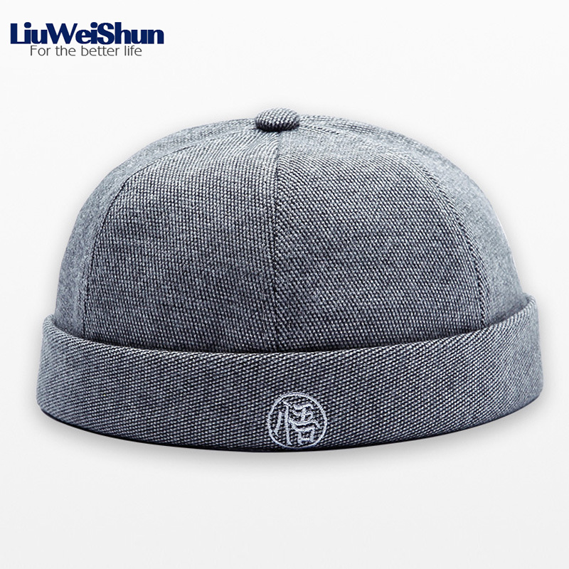 New Embroidery Chinese Letter Round Top Hip Hop Cap For Child Adult 46-60CM Parent-child Cap 6 Colors Without Visor Landlord Cap