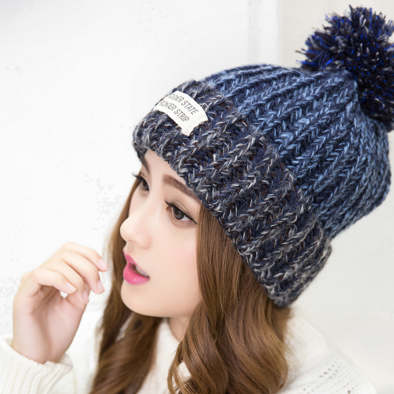 2016 New Fashion Woman s Warm Woolen Winter Hats Knitted Fur Cap For Woman  Sooner State Letter Skullies   Beanies 6 Color Gorros e27e236bc20