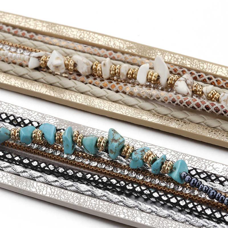 Amorcome niebieski kamień naturalny skórzane bransoletki dla kobiet modne Boho pleciony sznur szerokie wielowarstwowe Wrap bransoletka damska biżuteria