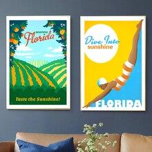 Florida Miami Tampa, lienzo de vacaciones de verano, pinturas de pared vintage, carteles Kraft, pegatinas de pared recubiertas, fotos de decoración del hogar, regalo