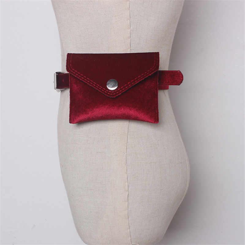 Mihaivina ファッション女性革カラフルなウエストパックベルベットのヒップベルトボムファニーパック女性ポーチバッグ携帯電話ポケット