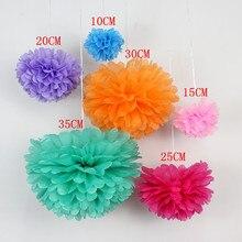Sıcak 1 adet 6 boyutu ponpon Doku Kağıt Pom Poms Çiçek Öpüşme Topları Ev Dekorasyon Şenlikli Parti Malzemeleri Düğün Iyilik topları