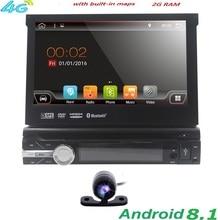 7 «Универсальный 1din Android 8,1 4 ядра dvd-плеер gps Wifi BT Радио multimeia 2 ГБ Оперативная память ROM16GB сеть 4G Рулевое колесо RDS