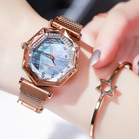 2019 New Fashion Style Square Small Watch Eight sided shape Dial steel watchband lady watch