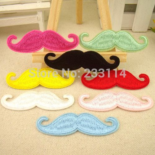 Patch of multi-color small beard dress pants embroidered back witty repair flower color moustache scrapbooking iron on patches