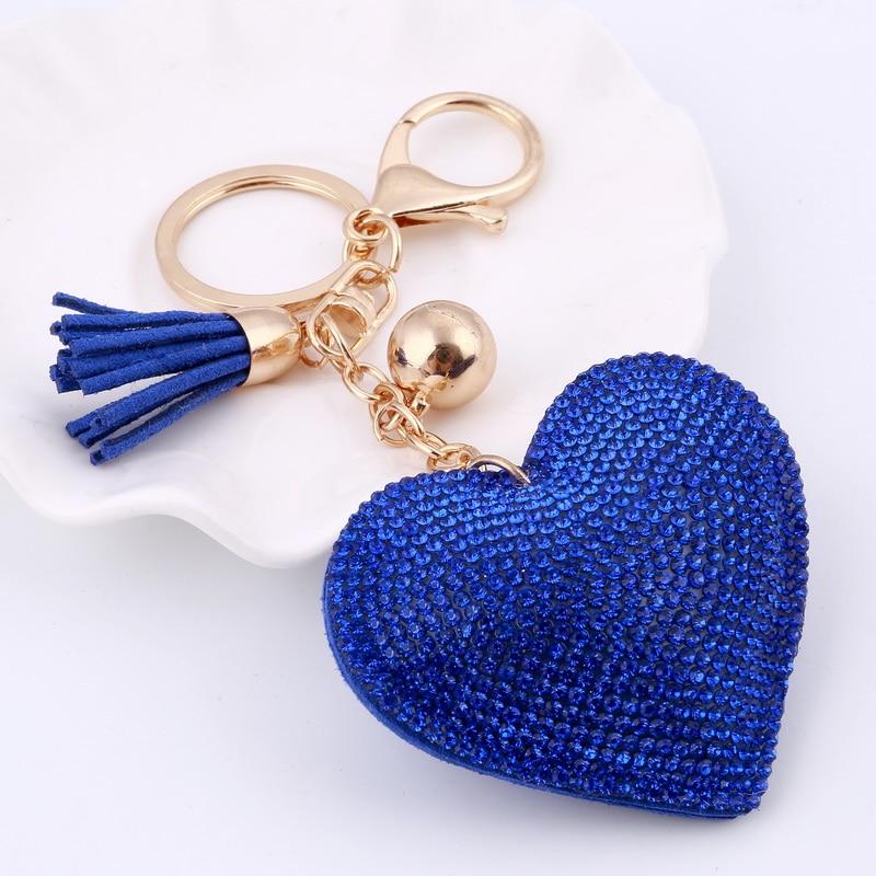 Love Heart Keychain 6Colors Full Crystal Key Ring Women Handbag Pendant Charms Long Tassel Golden Chain Bag Keyring & Key Holder light silicone handbag w chain red golden