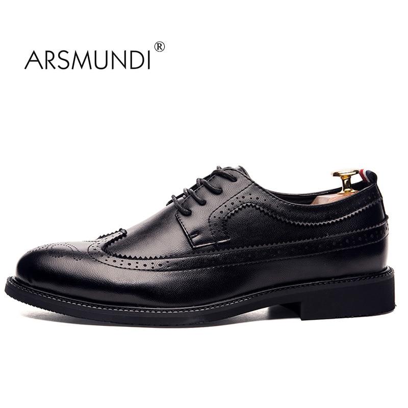 ARSMUNDI Men Dress Shoes Brogue Shoes Genuine Leather Black Fashion Business Dress Shoes 2017 Lace Up Men Casual Brogue 92-9A216