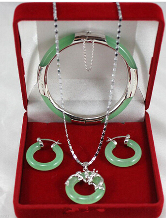 Jewelry-Set Dragon-Pendant-Earrings Green-Stone Silver Natural Hook Aaa-Style Genuine