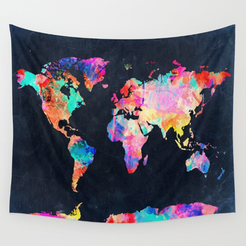 Homing New Arrive Colorful World Map Hanging Wall Polyester Tapestry Bedspread Home Living Room Decoration Yoga Mat Towel