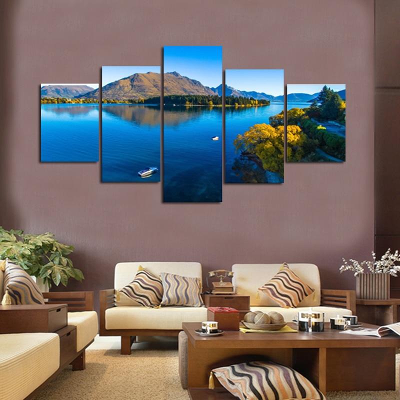 decoration printed oil painting canvas prints no frame panel laminas de cuadros de pared celeste sky and river nice landscapein painting u calligraphy