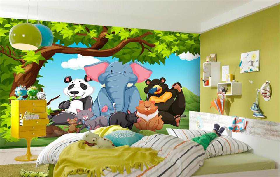 Custom 3d photo mural wallpaper kids room elephant panda for Child mural wallpaper