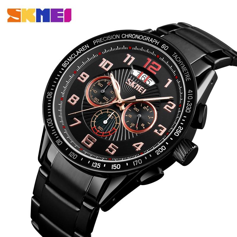SKMEI Business Mens Watches Quartz Watch Men Clock Stainless Steel Waterproof Watches relogio masculino reloj hombre 2018 9176 цена