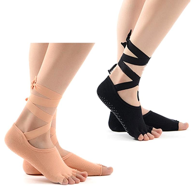 1 pair Women Yoga Socks 5 Toes Non-slip Massage Rubber Fitness Warm Socks Gym Dance Sport Exercise Barefoot Feel non slip toeless yoga socks with grip for women