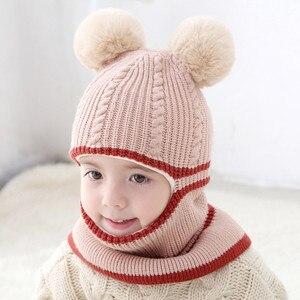 Image 5 - ファッションベビー帽子ポンポンボールかぎ針ベビー帽子フード付きスカーフ子供キャップ襟スカーフ秋冬キッズベビーキャップ