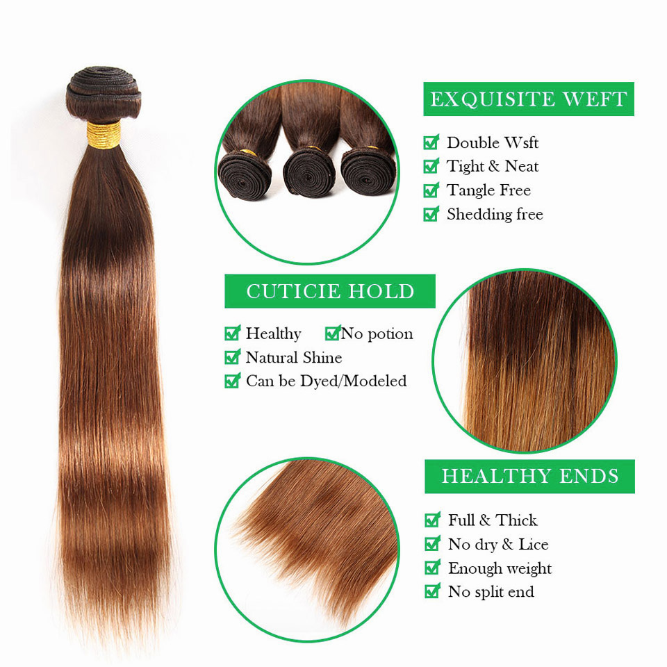 Ombre Bundles With Frontal Brazilian Straight Hair 3 Blonde Bundles With Closure 13x4 Human Hair Bundles NonRemy Hair Weave