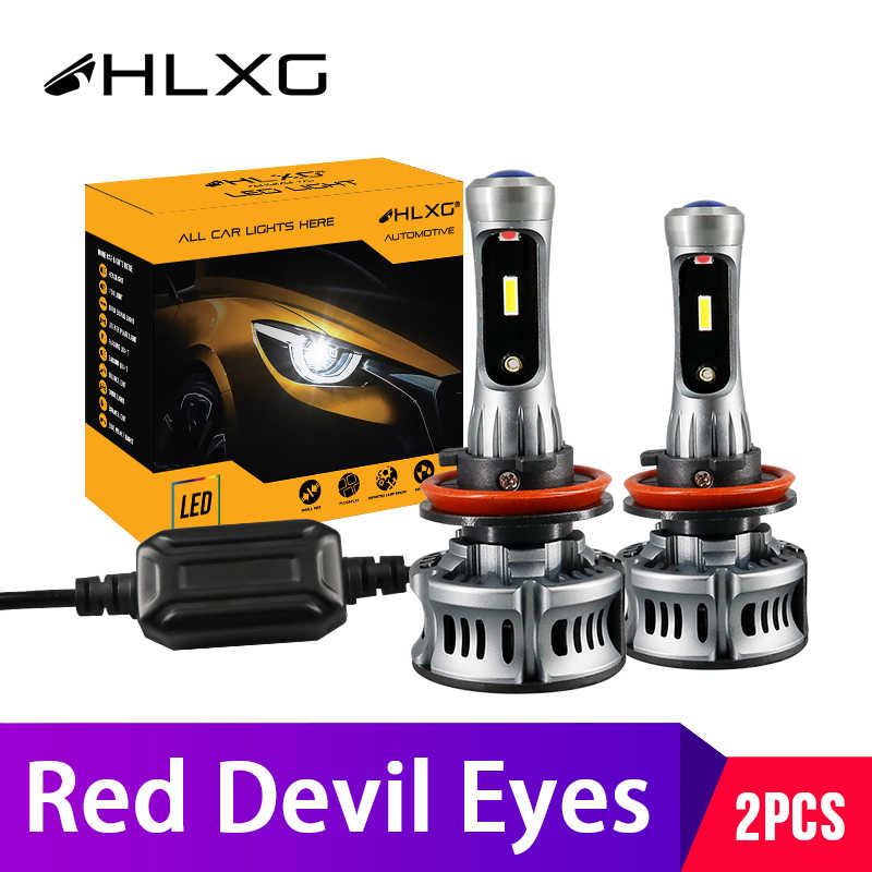 2X Red Color Devil Angel Eyes Lamp H7 LED H11 H8 Fog Lights HB3 HB4 Mini Projector Lens Car Headlight Bulbs 12V hlxg Motorcycle