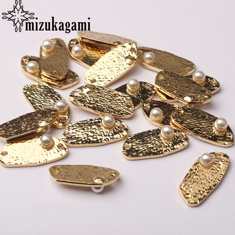 Golden Zinc Alloy Imitation Pearls Geometry Charms Connector 6pcs/lot For DIY Jewelry Earrings Making Accessories
