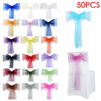 50pcs Sheer Organza Chair Sash Bow For Cover Sashes Bow Banquet Wedding Party Event Xmas Home Decoration FP8