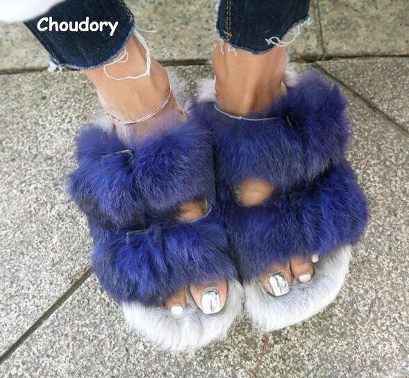 ФОТО Brand Choudory Blue Rabbit Fur Women Slippers Gladiator Flat Sandals Lady Summer Flats Casual Shoes Woman Slides Slingback Shoes