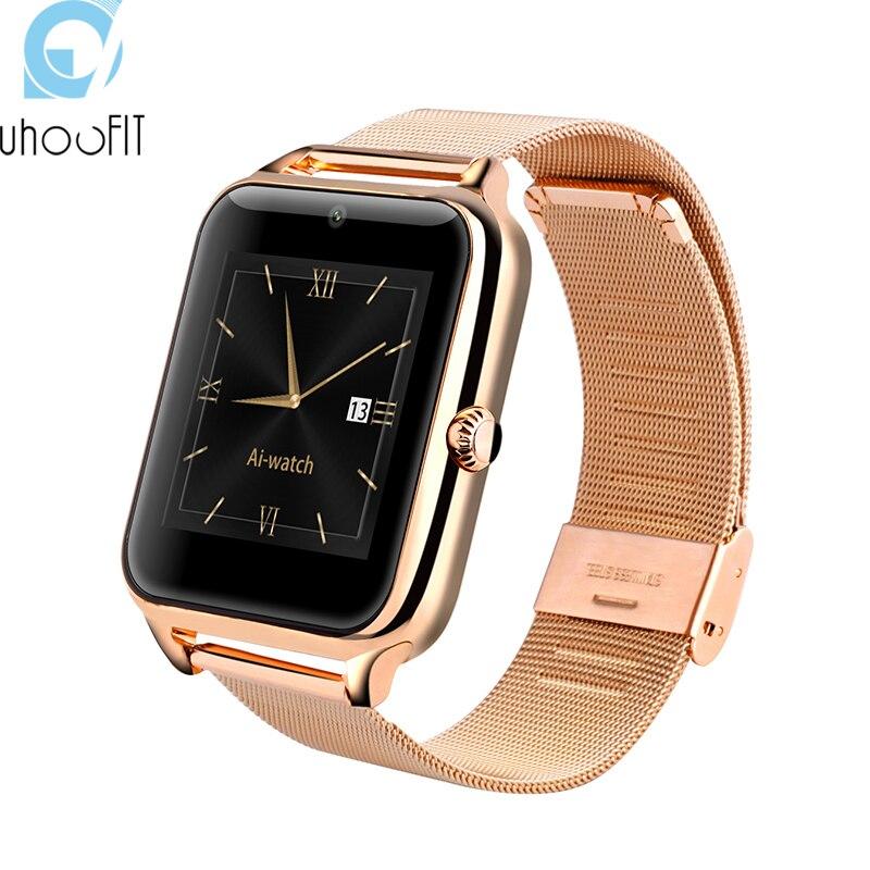 imágenes para Uhoofit Moda Z50 Smartwatch Bluetooth Reloj Inteligente NFC apoyo SIM tarjeta MP3 MP4 compatible para el iphone 6 6 s IOS Android teléfono