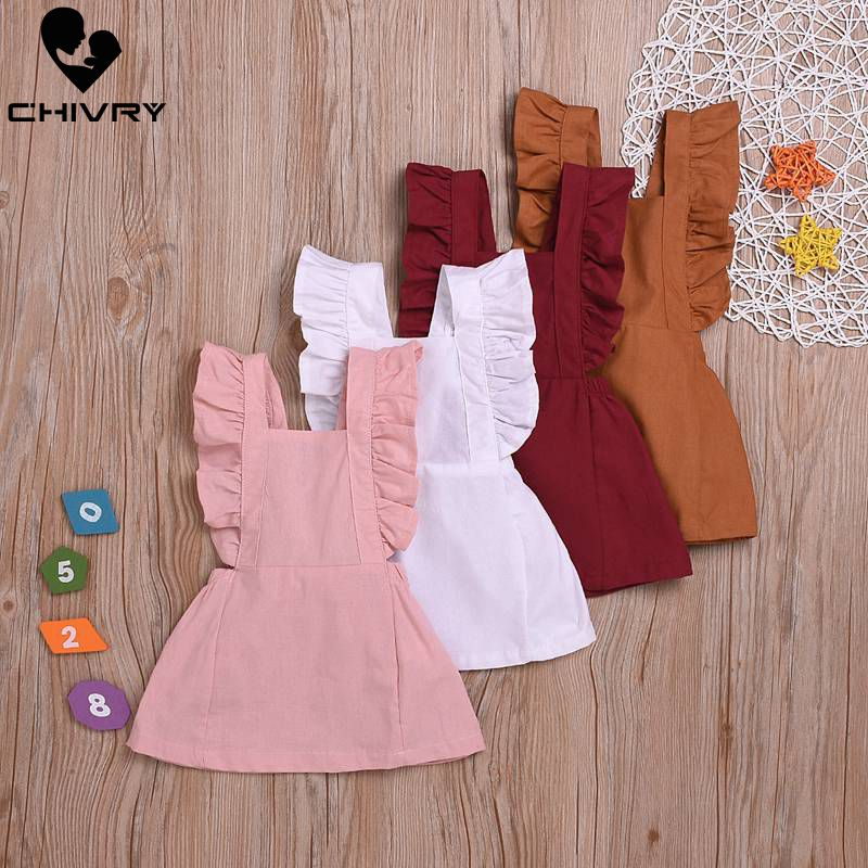 Chivry Summer Baby Dresses Girl Toddler Dress Ruched Sleveless Cotton Linen Solid Clothes A-line