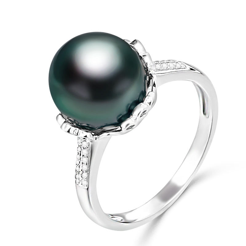 YS 10 11mm Natural Black Tahitian Cultured Pearl Ring 925 Sterlng Silver Ring Fine Jewelry in Rings from Jewelry Accessories
