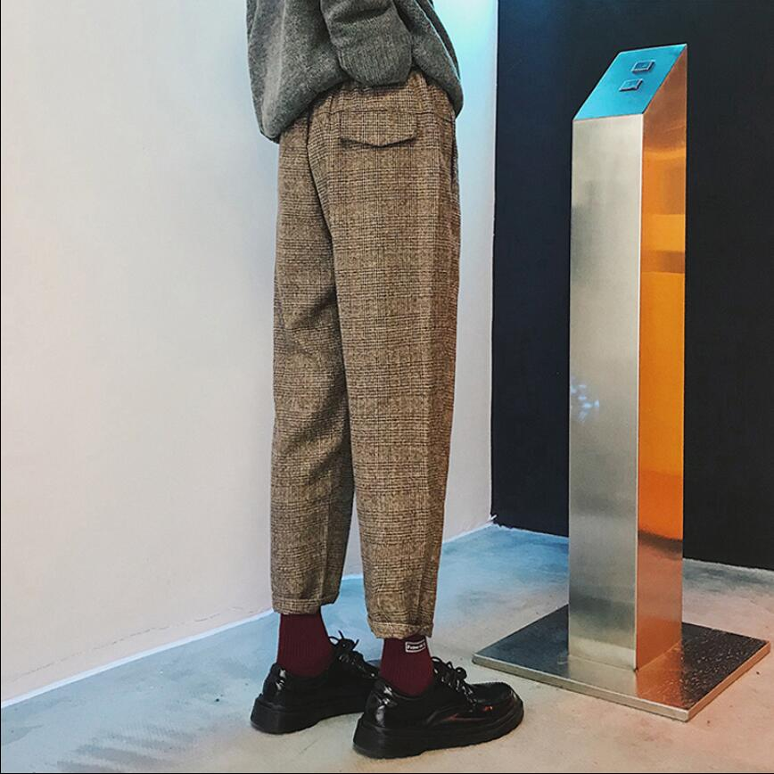 Spring And Autumn New Loose Plaid Pants Korean Version Of The Straight Suit Pants Slim Feet British Hair Woolen Harlan Trousers