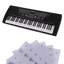 Piano Keyboard 54/61 Keys Electronic Keyboard 88Keys Stickers Music Decal Label Note Learn Biginners Kids 1 Sheet(China)