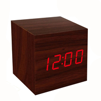 1pcs New Mini Cube Style Digital Red LED Wooden Wood Desk Alarm Brown Clock Voice Control