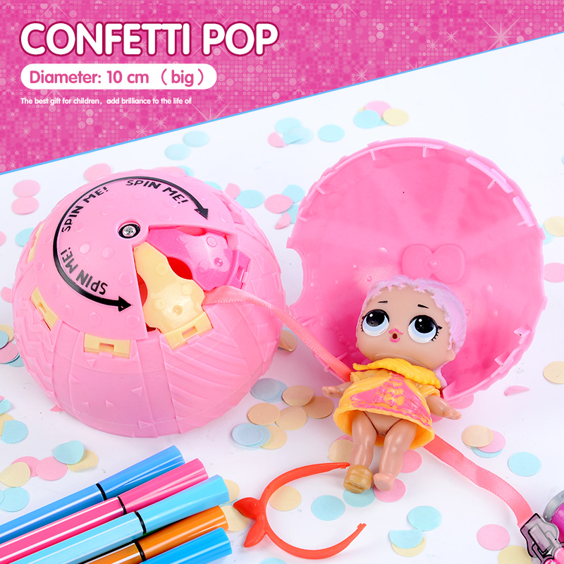 confetti pop 10cm big lol doll in balls 3 series Egg toys for girls party action figure water spray color changing Dress Up
