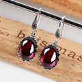 famous brand 925 Sterling silver women jewelry red intage Natural semi-precious stones Earrings garnet girlfriend gift
