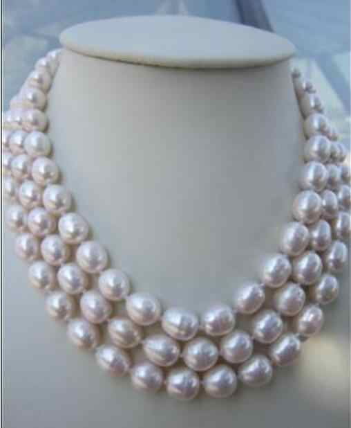 "Jewelry Pearl Necklace 3 string  9-10mm natural south sea white baroque pearl necklace 18-20""14k  Free Shipping"