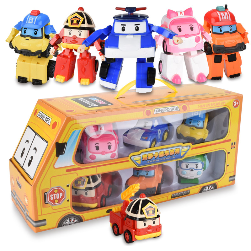 2018 hot Korean version Q deformation robot car fire deformation car model bus gift box gift toy set2018 hot Korean version Q deformation robot car fire deformation car model bus gift box gift toy set