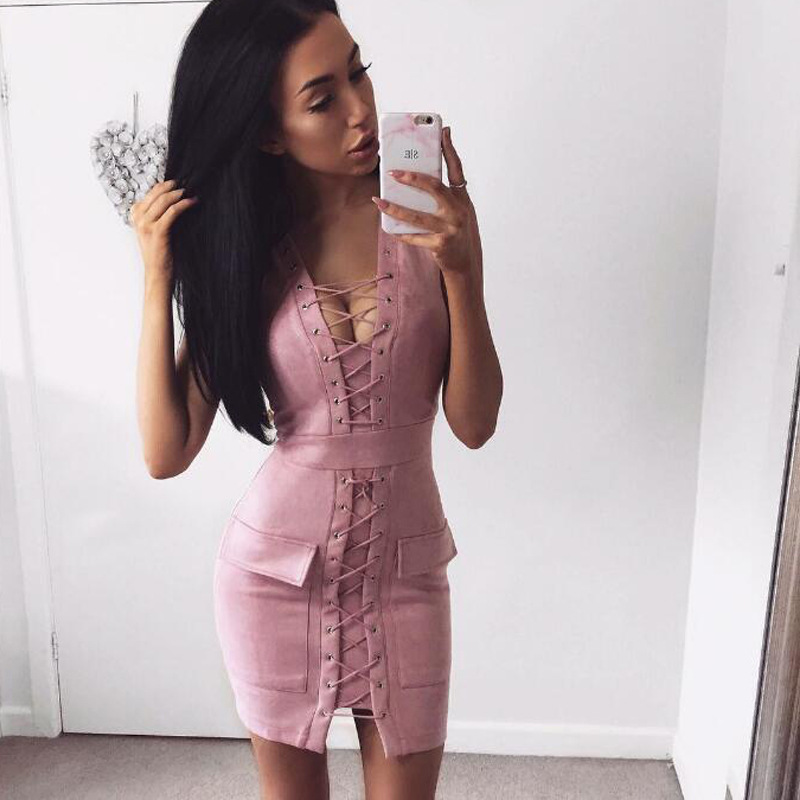 Sibybo Pink Criss Cross Lace Up Suede Dress Mujeres Sexy