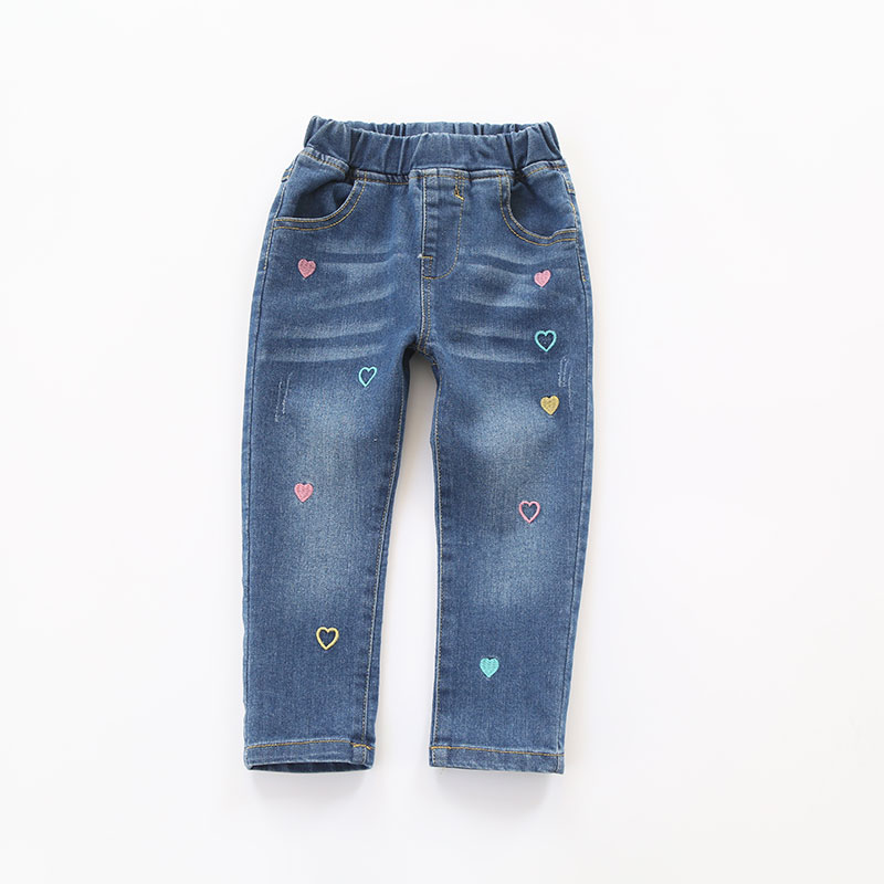 2018 Spring Girls Heart-embroidery Denim Jeans Baby Cotton Jeans Kids Spring Autumn Casual Trousers Child Elastic Waist Pants jiqiuguer women solid cotton wide leg embroidery pants vintage stretch jeans elastic waist loose casual spring trousers g182k004