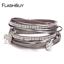 Flashbuy Alloy Leather Bangles For Women Rhinestones Bracelet Crystal Jewelry Gift Accessories Fashion
