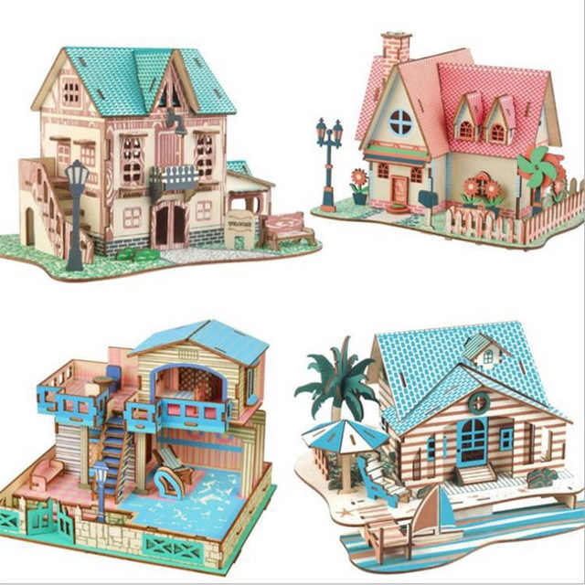 1 pc Diy Wooden House for Dolls Miniature Home Villa Building Model Puzzle Toy Doll House Furniture Accessories Toy for Birthday
