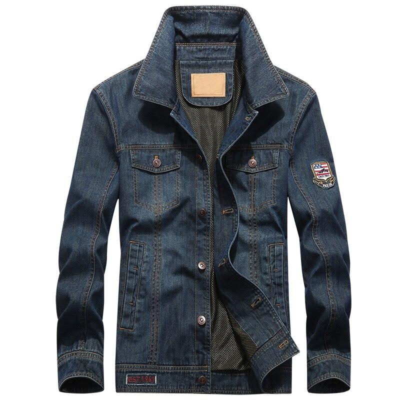 Marca AFS JEEP Più Il formato 4XL 5XL giacca di jeans degli uomini di Autunno della Molla di modo dei jeans del cappotto del Cowboy Militare Bomber jaqueta masculina-in Giacche da Abbigliamento da uomo su  Gruppo 2