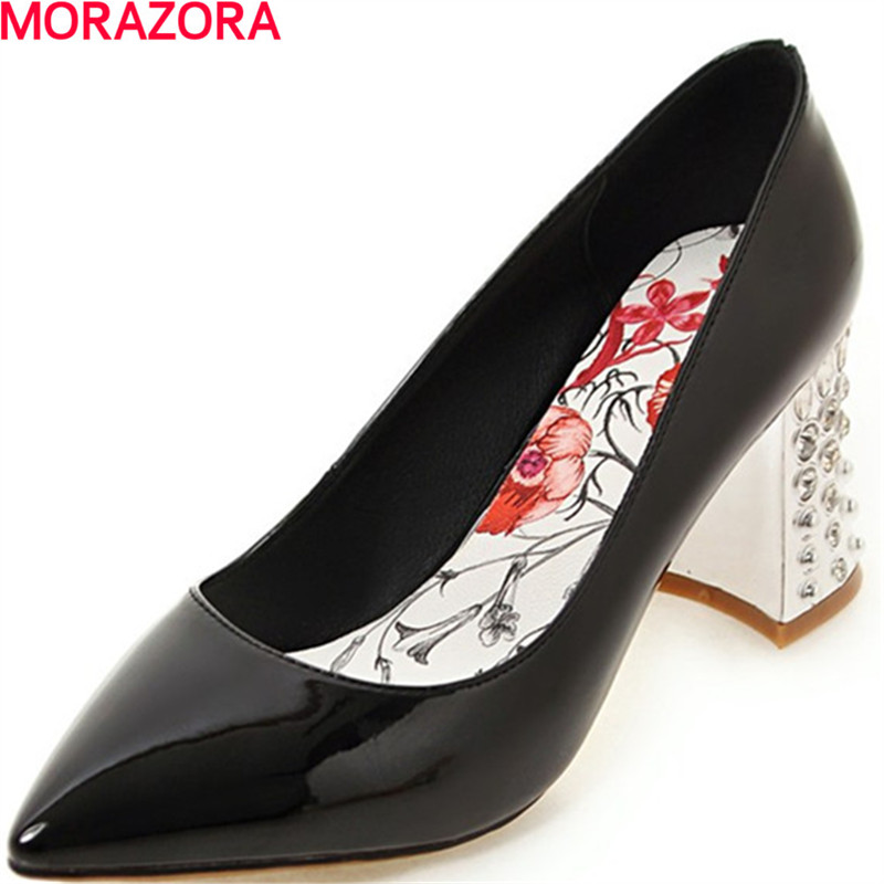 MORAZORA elegant fashion square high heels shoes shallow pointed toe wedding party womens pumps big size 34-43 single shoes baoyafang bling womens wedding shoes high heels pumps women fashion shoes pointed toe ladies shallow sequined cloth female shoes