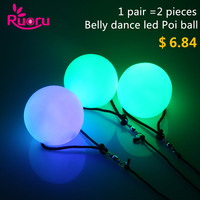2 Pieces 1 Pair Belly Dance Balls RGB Glow POI Thrown Balls Light Up For Belly