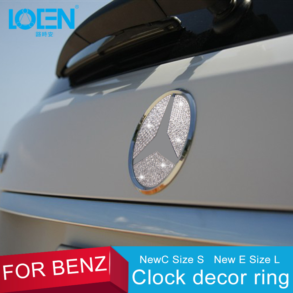 LOEN Car Exterior Decal Tail Logo Stickers For Mercedes Benz New C/New E Decoration Car-Styling Zinc Alloy Rhinestones Silver