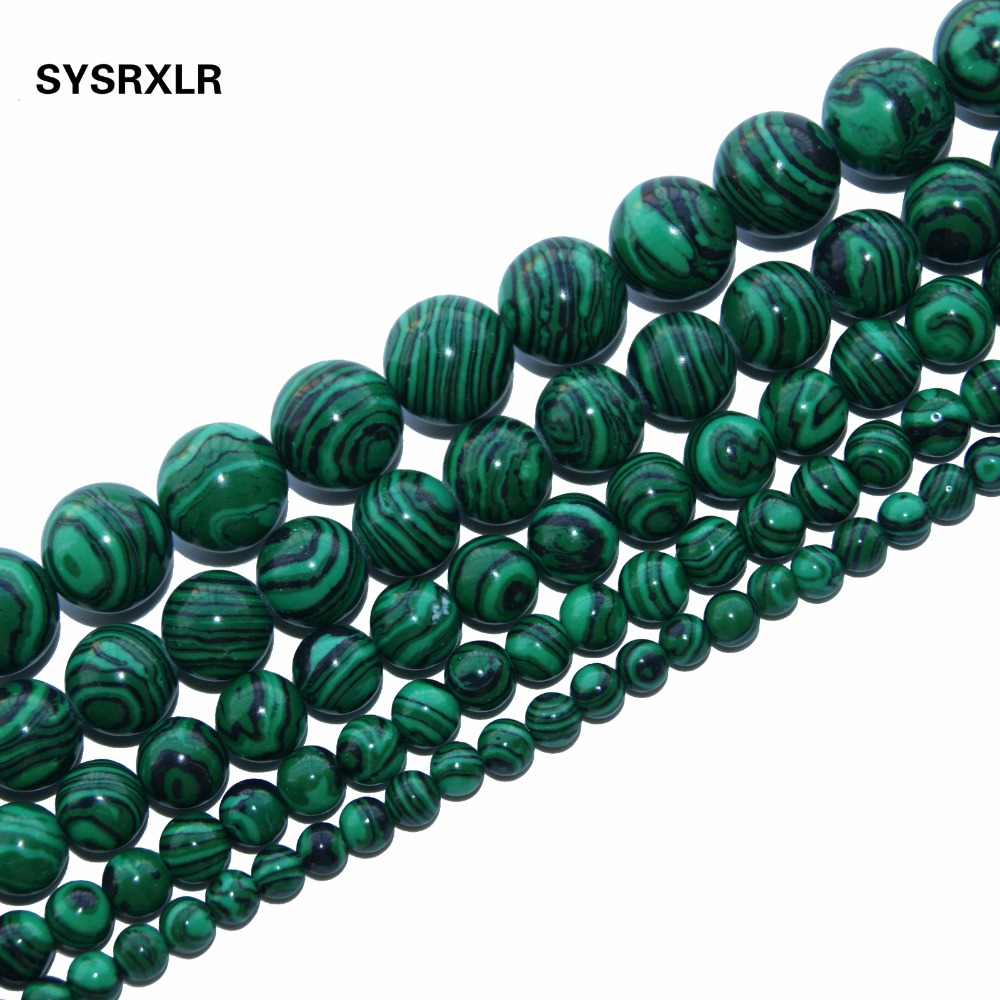 Natural Stone Malachite Perler av Stone Round Av Avslappet Branelli The Sphere 4/6/8/10/12 MM Armbånd Strand Making Diy