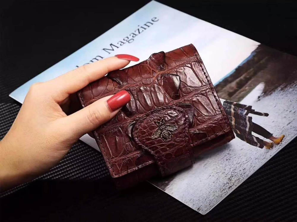 Genuine/Real crocodile tail skin leather bank card holder money cash case and wallet coin case metal bee coin case free ship