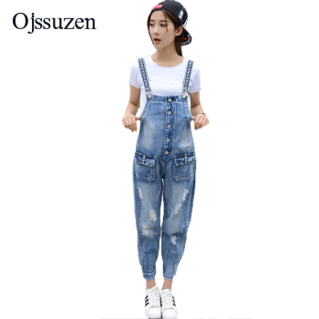 Ripped Ladies Jeans Overalls Jumpsuits 2018 Summer Female Rompers Plus Size Denim Jumpsuit For Women Vintage Jeans Jumpsuit plus size women in overalls