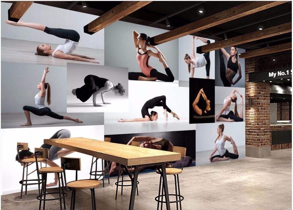 yoga wall background murals club 3d mural fitness decoration painting custom zoom