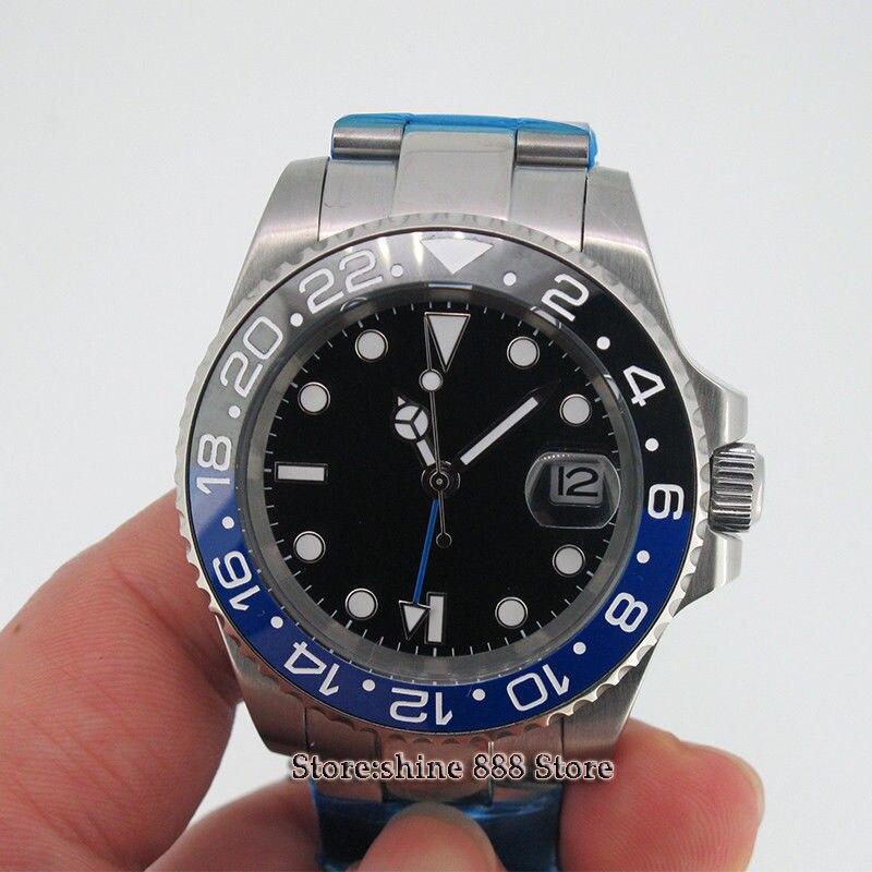 Reloj Automático para hombre con fecha de bisel de cerámica GMT de cristal de zafiro estéril negro PARNIS de 40mm-in Relojes mecánicos from Relojes de pulsera    1